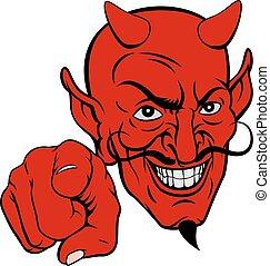 diabo, personagem, caricatura, apontar
