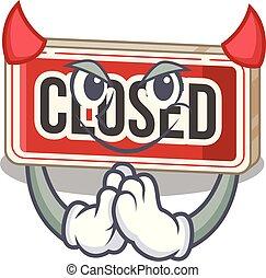 diabo, porta, anexado, sinal, fechado, caricatura