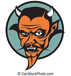 diabo, satã, mal, corte arte, gráfico