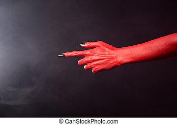 diabo vermelho, apontar, mão, com, pretas, afiado, pregos,...