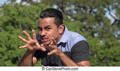 Diabolical Scary Adult Hispanic Man
