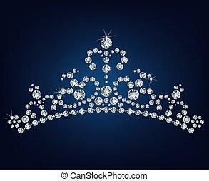 diadème, diamant, vecteur, -, illustration