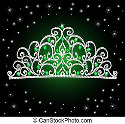 diadème, mariage, femmes, étoiles, vert, pierres, couronne