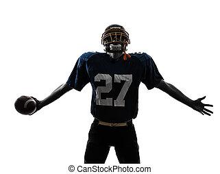diadalmas, american foci játékos, ember, árnykép