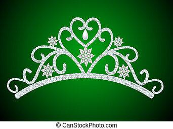 diadeem, trouwfeest, groene, parel, vrouwelijk