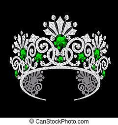 diadeem, trouwfeest, smaragd, corona, vrouwelijk
