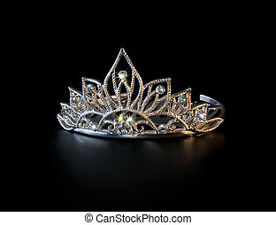 diadem, barwny, czarne tło, iskierki, tiara, albo