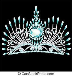 diadem, corona, feminin, bryllup, hos, blå sten