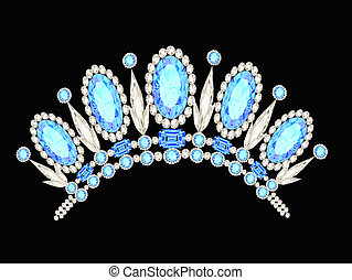 diadem crown feminine form kokoshnik with blue stones -...