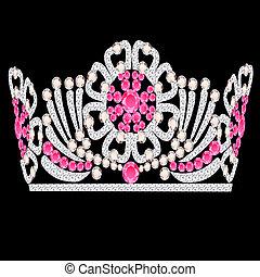 diadem crown feminine wedding with rose stone - illustration...