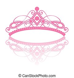 diadem. elegance feminine tiara with reflection. in pink colour isolated on white background. vector illustration.