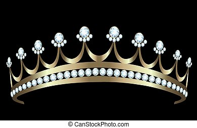 Diadem - Gold diadem with diamonds on white background