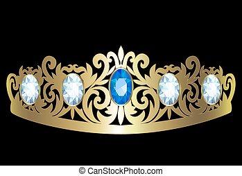 Diadem - Gold diadem with diamonds on black background