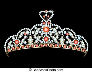 Diadem - Vintage gold diadem decorated with diamonds and...