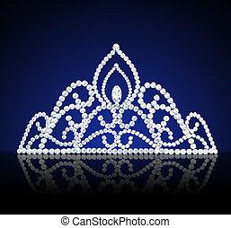 diadem feminine wedding with diamond on dark - illustration...