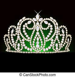 diadem feminine with reflection on black translucent green ...