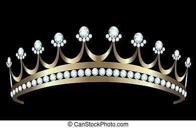 Diadem - Gold diadem with diamonds on white background
