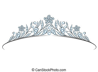 Diadem - Vintage silver diadem with flowers and leaves...