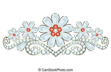 Diadem - Tiara with diamonds and rubies on white background