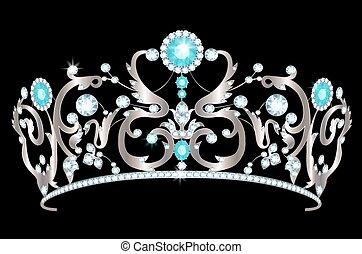 Diadem - Vintage silver tiara with jewels on black...