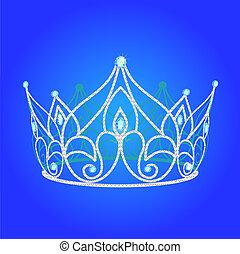 diadem, kvinder, bryllup, hos, blå, juveler