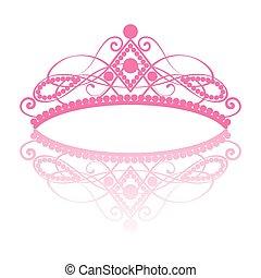 diadem., prinsessenkroon, reflectie, elegantie, vrouwelijk