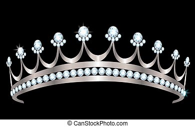 Diadem - Silver diadem with diamonds on black background