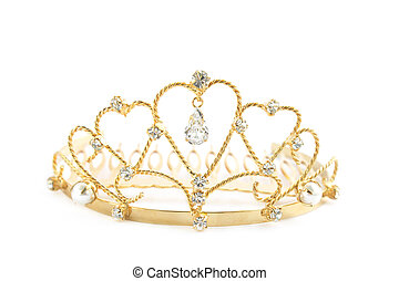 Diadem - Gold diadem with the precious stones and the pearls...