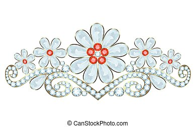Diadem - Tiara with diamonds and rubies on white background