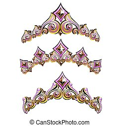 Diadem - Vintage jewelry diadem set. Vector illustration.