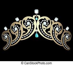 Diadem with diamonds and aquamarines - Gold diadem decorated...