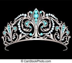 Diadem with diamonds and aquamarines - Silver diadem...