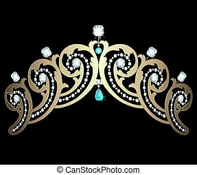 Diadem with diamonds and aquamarines