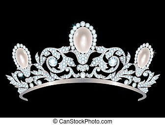 Diadem with diamonds and pearls