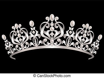 Diadem with pearls - Silver diadem with pearls on black...
