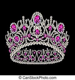 diadema, boda, rubí, corona, femenino
