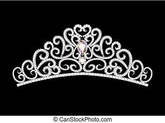diadema, coroa, ilustração, feminina, pretas, casório