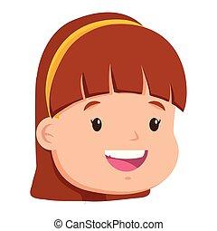 diadema, face branca, fundo, menina sorridente
