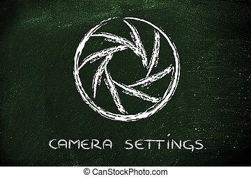 diaframma, fotografia, macchina fotografica, disegno, scuola