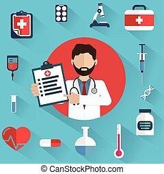 diagnósticos, doutor, mostrando, ícones, médico, circle.