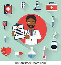diagnósticos, mostrando, ícones, doutor médico, africano, circle.