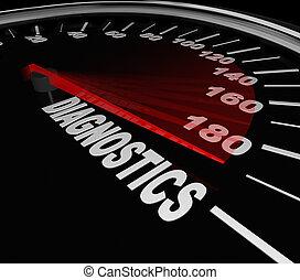 diagnósticos, velocímetro, mecánico, aprieto, reparación, coche, automóvil