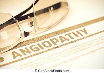 diagnose, -, angiopathy., medizin, concept., 3d, illustration.