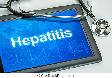 diagnose, hepatitis, tablette, textanzeige