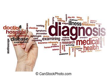 diagnose, wort, wolke