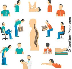 Flat color isolated icons for diagnosis spine diseases and treatment back pain vector illustration