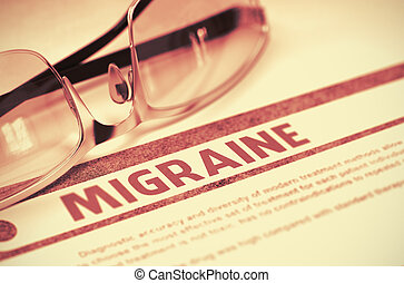 Diagnosis - Migraine. Medical Concept. 3D Illustration.