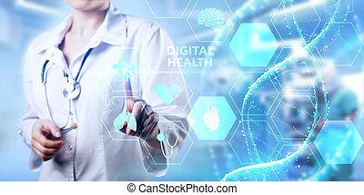 diagnosis., monde médical, concept., santé, numérique, healthcare, technologie, moderne