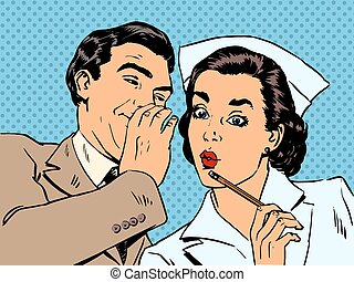The diagnosis of the patient, nurse and male gossip surprise conversation flirting relationship doctor medicine health Halftone style art pop retro
