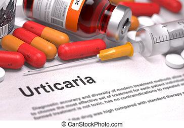 Diagnosis - Urticaria. Medical Concept. 3D Render. -...